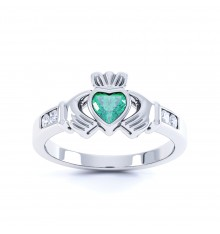 Ladies Silver Claddagh Birthstone Ring