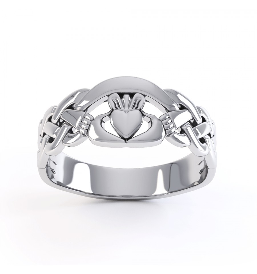 gents silver claddagh ring
