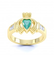 Ladies Gold Birthstone Claddagh Ring