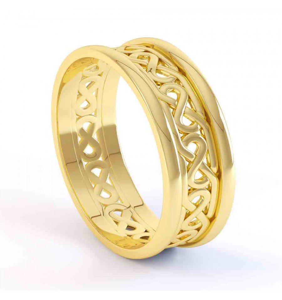 Ladies Gold Celtic Wedding Band