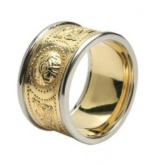 White and Yellow Gold Celtic Warrior Ring 12mm