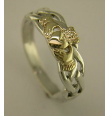 Silver and Gold Claddagh Celtic Ring