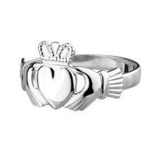 Ladies White Gold Claddagh Ring